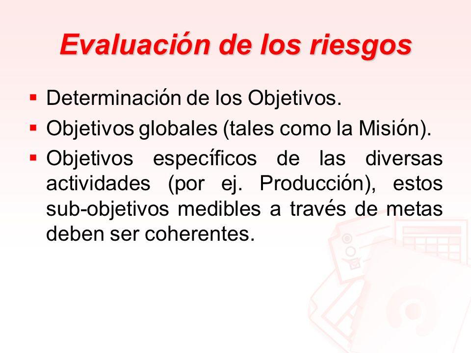 Evaluaci ó n de los riesgos Determinaci ó n de los Objetivos. Objetivos globales (tales como la Misi ó n). Objetivos espec í ficos de las diversas act