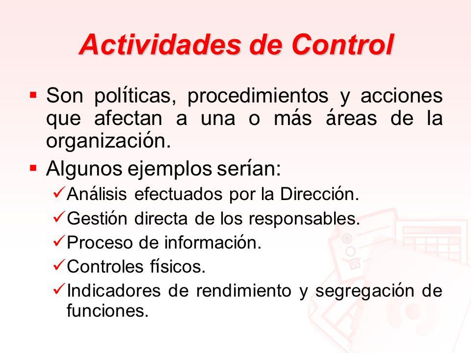 Actividades de Control Son pol í ticas, procedimientos y acciones que afectan a una o m á s á reas de la organizaci ó n. Algunos ejemplos ser í an: An