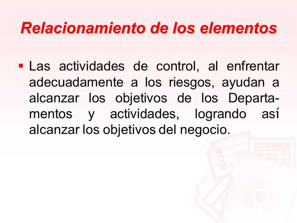 Relacionamiento de los elementos Las actividades de control, al enfrentar adecuadamente a los riesgos, ayudan a alcanzar los objetivos de los Departa-
