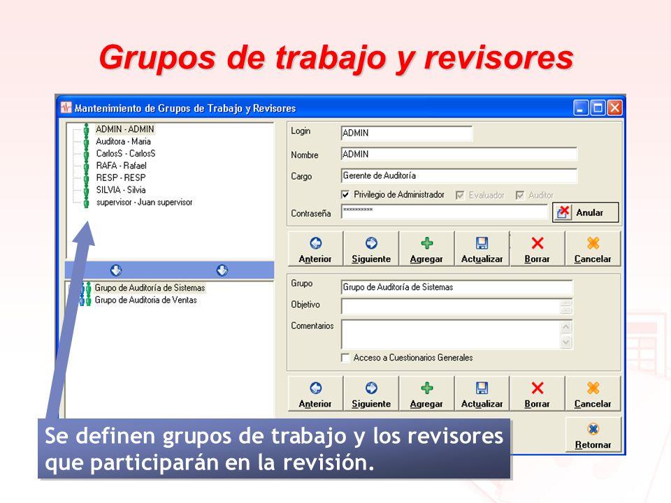 Grupos de trabajo y revisores Se definen grupos de trabajo y los revisores que participarán en la revisión.