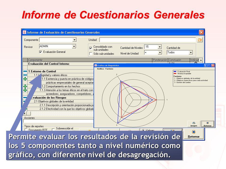 Informe de Cuestionarios Generales Permite evaluar los resultados de la revisión de los 5 componentes tanto a nivel numérico como gráfico, con diferen