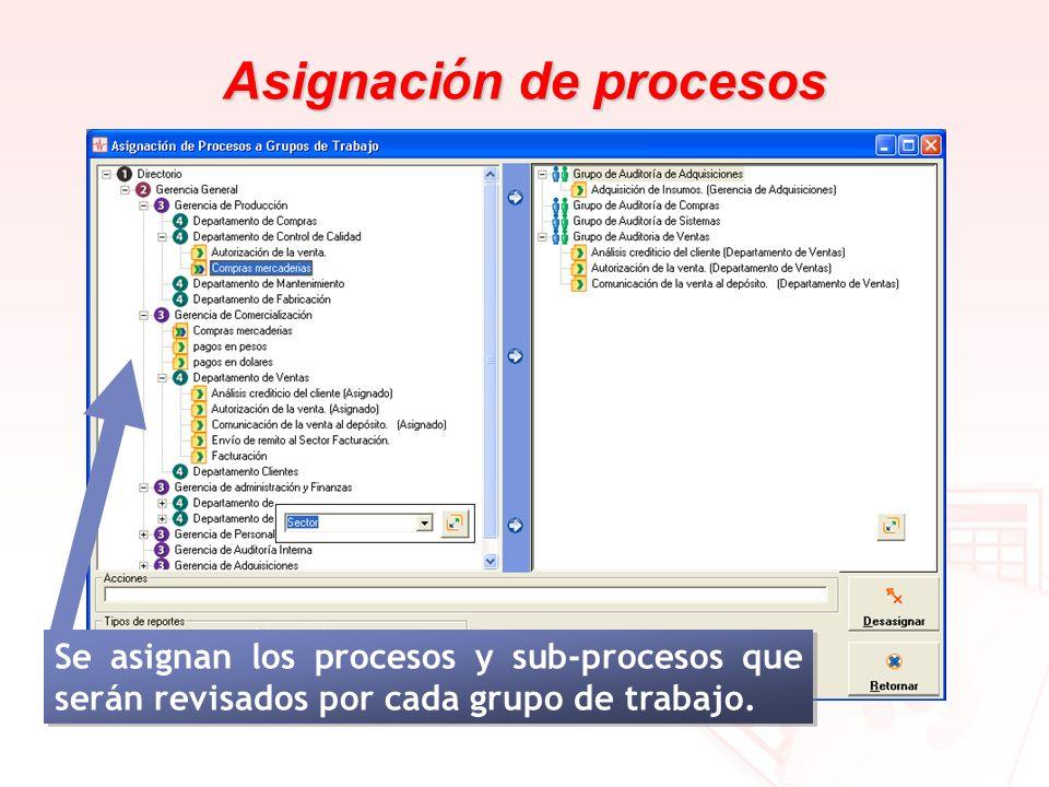 Asignaci ó n de procesos Se asignan los procesos y sub-procesos que serán revisados por cada grupo de trabajo.