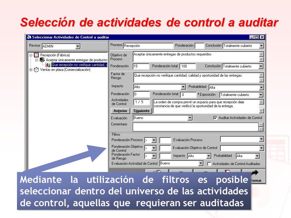 Selecci ó n de actividades de control a auditar Mediante la utilización de filtros es posible seleccionar dentro del universo de las actividades de co