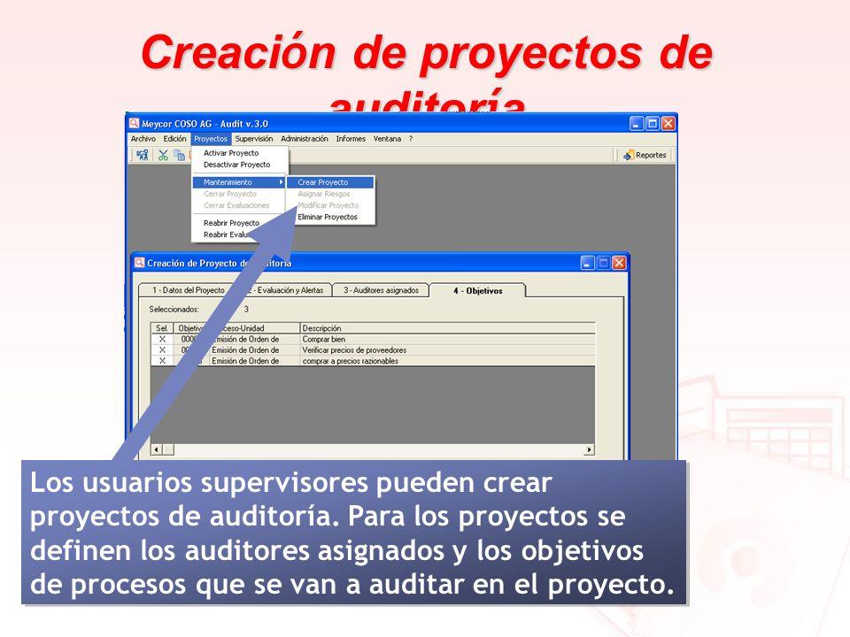 Creaci ó n de proyectos de auditor í a Los usuarios supervisores pueden crear proyectos de auditoría. Para los proyectos se definen los auditores asig