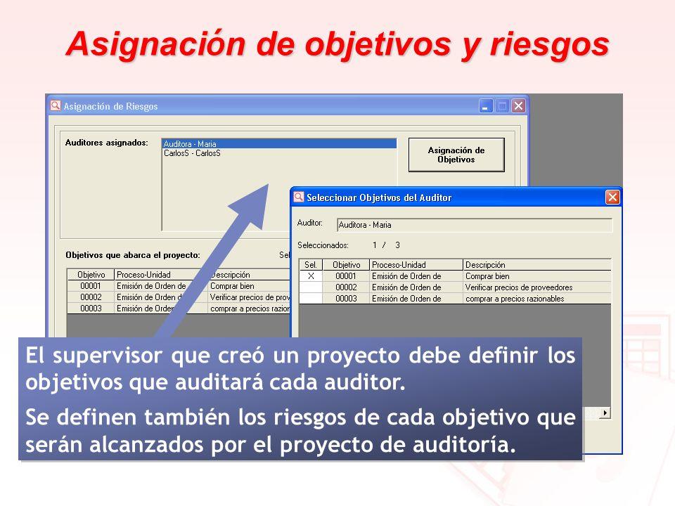 Asignaci ó n de objetivos y riesgos El supervisor que creó un proyecto debe definir los objetivos que auditará cada auditor. Se definen también los ri