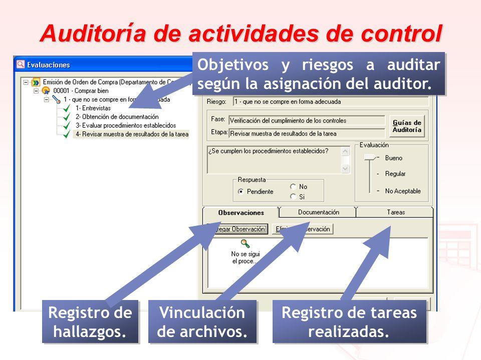 Auditor í a de actividades de control Registro de hallazgos. Vinculación de archivos. Registro de tareas realizadas. Objetivos y riesgos a auditar seg