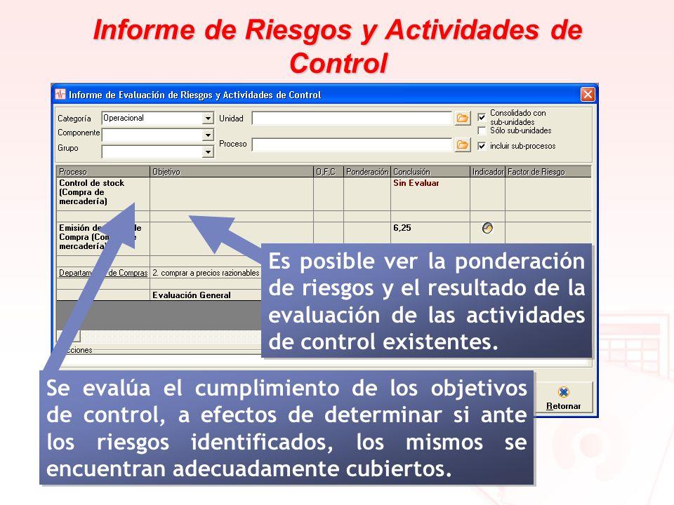 Informe de Riesgos y Actividades de Control Se evalúa el cumplimiento de los objetivos de control, a efectos de determinar si ante los riesgos identif