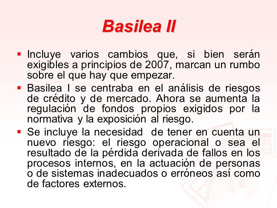 Basilea II Incluye varios cambios que, si bien ser á n exigibles a principios de 2007, marcan un rumbo sobre el que hay que empezar. Basilea I se cent