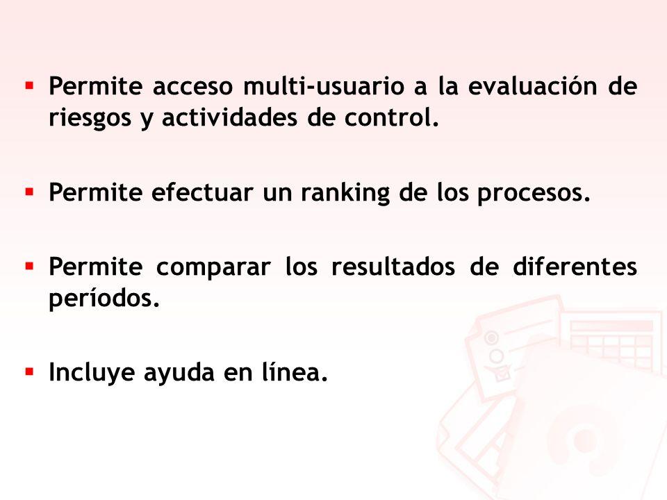 Permite acceso multi-usuario a la evaluación de riesgos y actividades de control. Permite efectuar un ranking de los procesos. Permite comparar los re