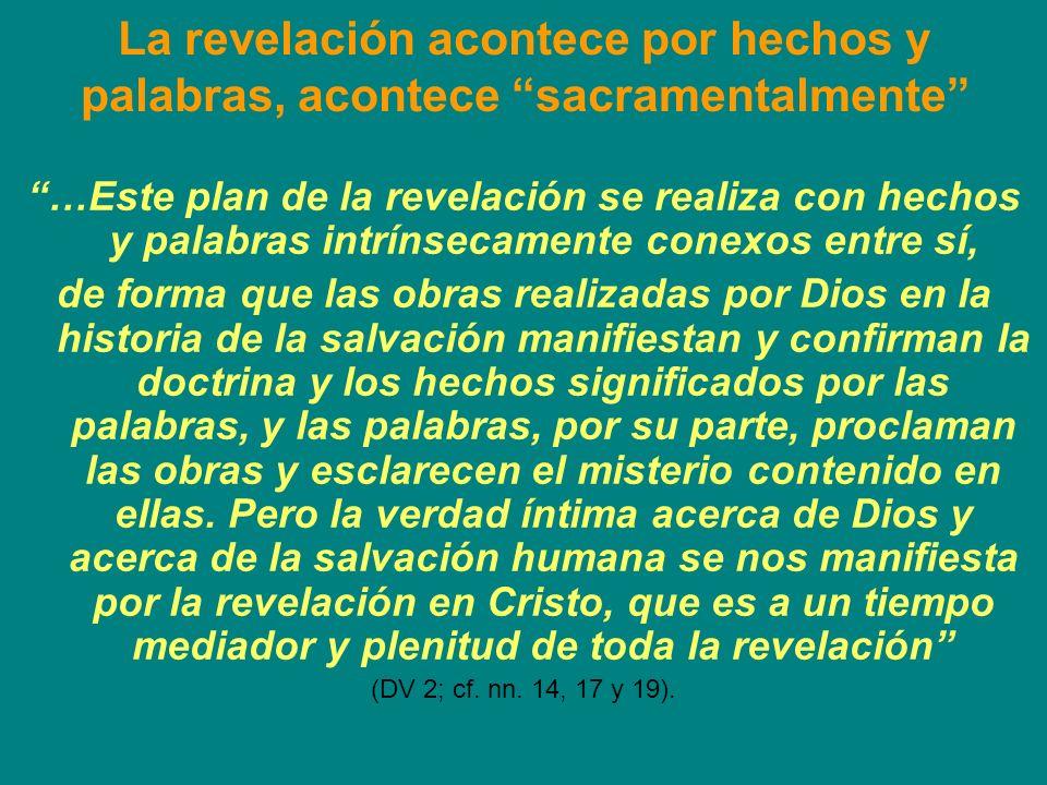 Los cuatro puntos centrales 1)La revelación es el acto de Dios que se revela a sí mismo (DV 2.6); 2)Ella acontece por medio de gestos y palabras conexas entre sí (DV 2.17); 3)Cristo es, a la vez, mediador y plenitud de la revelación (DV 2.4); 4)La revelación efectuada en la historia se relaciona con la manifestación de Dios en el universo: no sólo la razón puede llegar a conocer a Dios por medio de las realidades creadas, sino que Dios mismo da testimonio de sí en sus criaturas (DV 3).