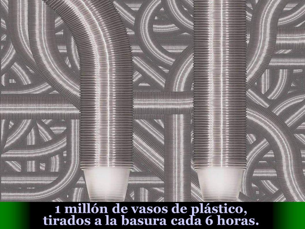 1 millón de vasos de plástico, tirados a la basura cada 6 horas.