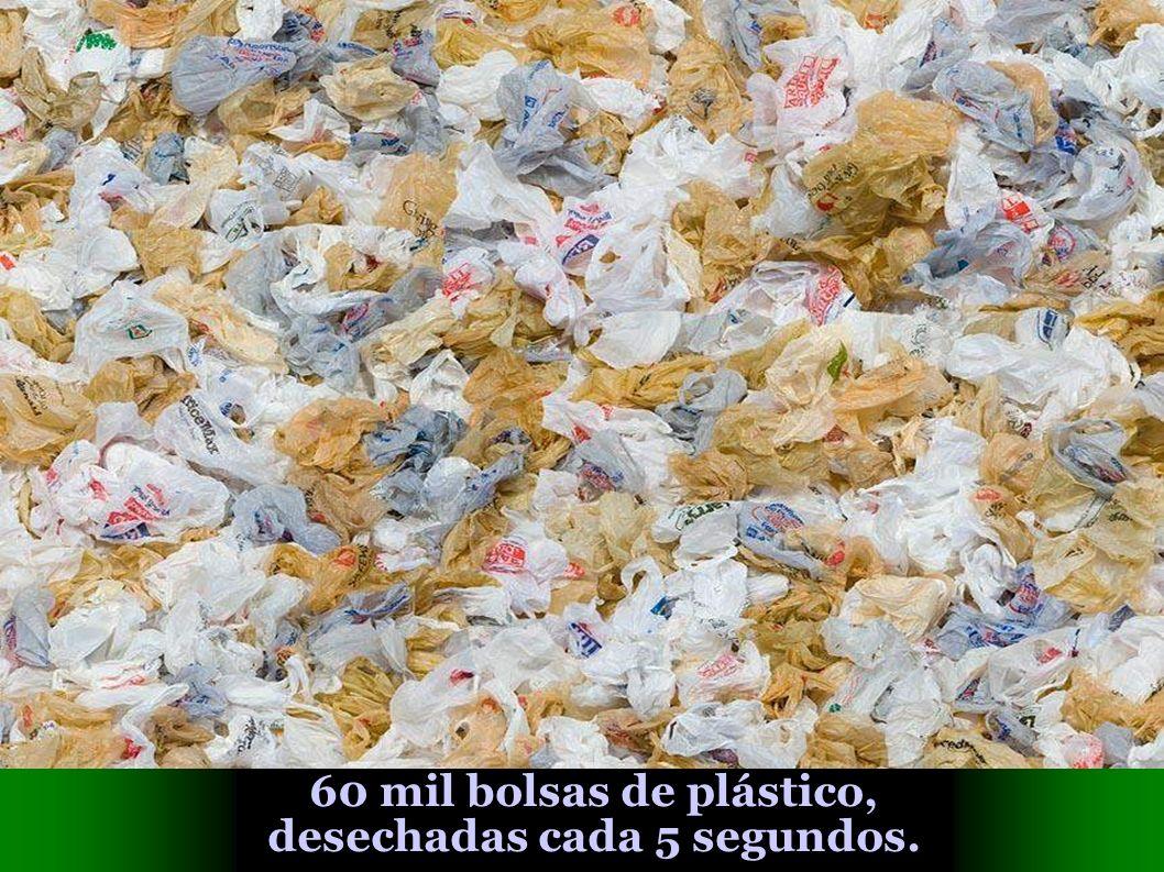 60 mil bolsas de plástico, desechadas cada 5 segundos.