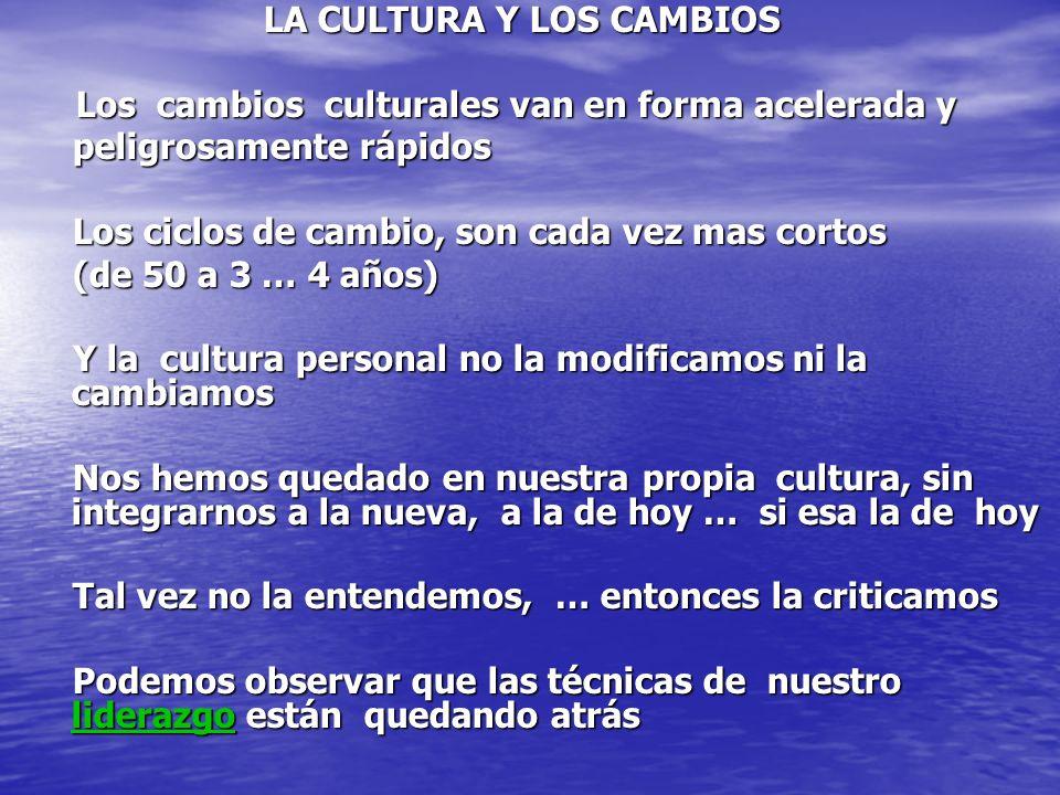 LA CULTURA Y LOS CAMBIOS LA CULTURA Y LOS CAMBIOS Los cambios culturales van en forma acelerada y Los cambios culturales van en forma acelerada y peli