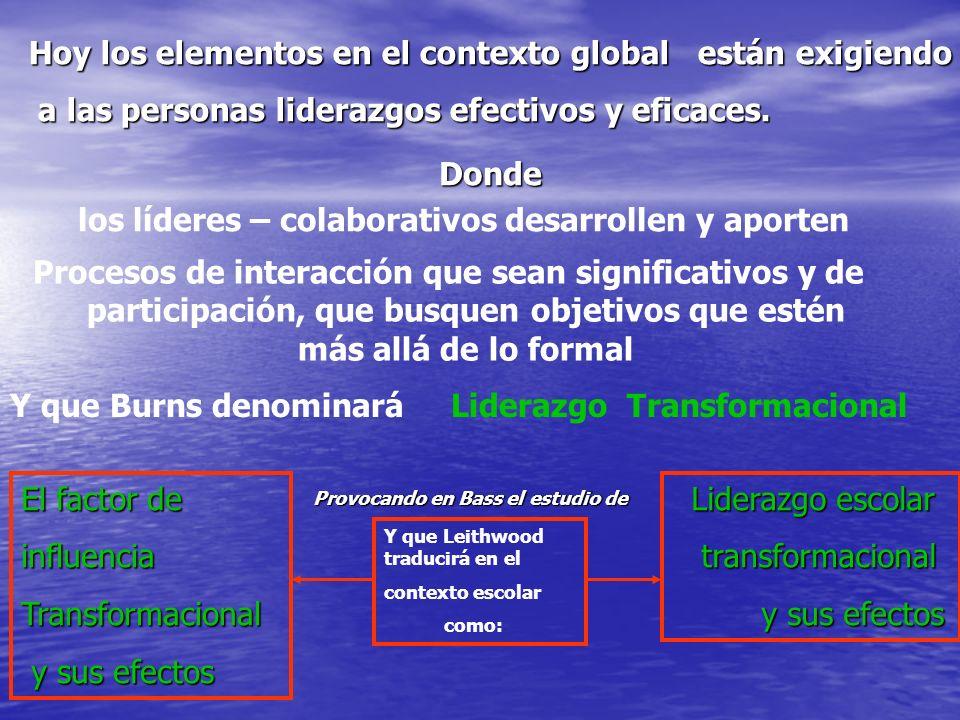 Provocando en Bass el estudio de Y que Leithwood traducirá en el contexto escolar como: Hoy los elementos en el contexto global están exigiendo a las