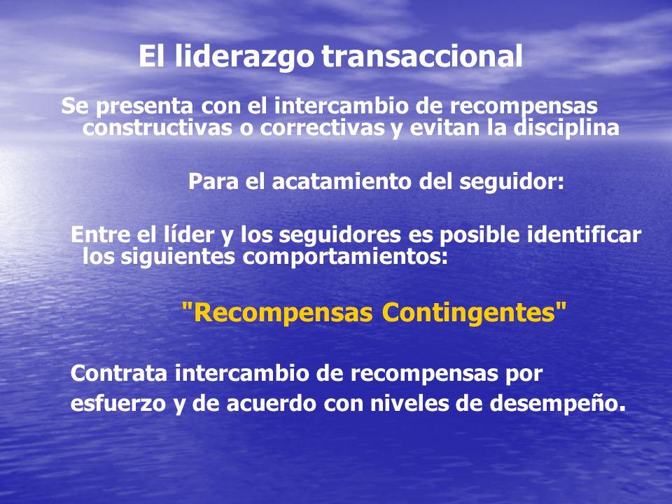 El liderazgo transaccional Se presenta con el intercambio de recompensas constructivas o correctivas y evitan la disciplina Para el acatamiento del se