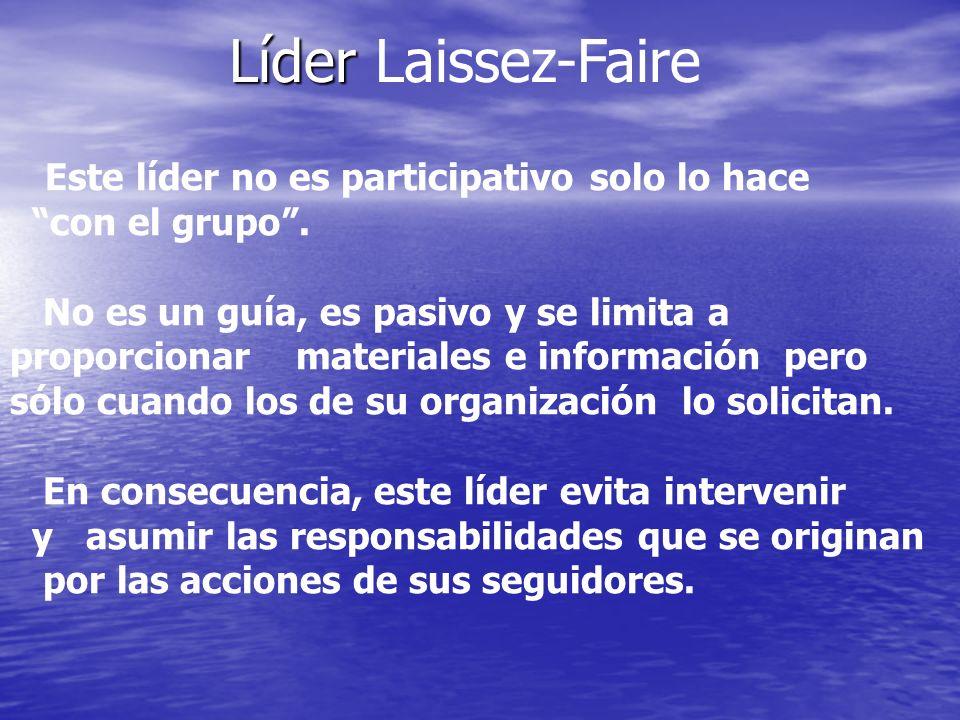 Líder Líder Laissez-Faire Este líder no es participativo solo lo hace con el grupo. No es un guía, es pasivo y se limita a proporcionar materiales e i