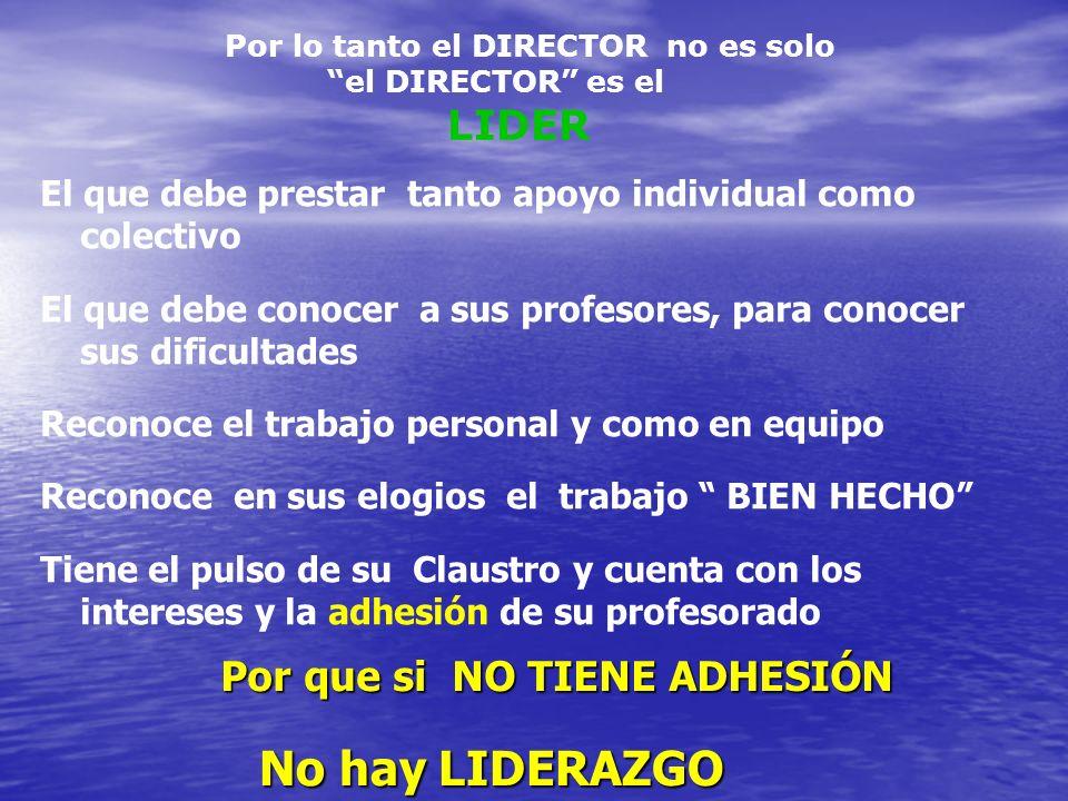 Por lo tanto el DIRECTOR no es solo el DIRECTOR es el LIDER El que debe prestar tanto apoyo individual como colectivo El que debe conocer a sus profes