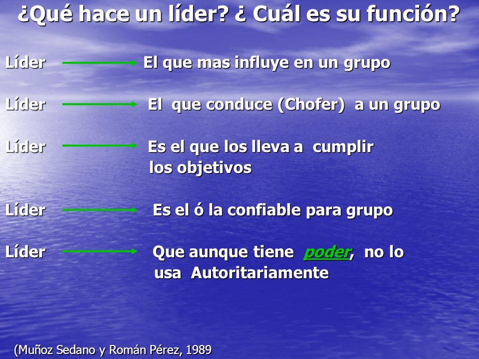 Líder El que mas influye en un grupo Líder El que conduce (Chofer) a un grupo Líder Es el que los lleva a cumplir los objetivos los objetivos Líder Es