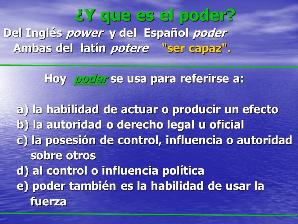 ¿Y que es el poder? ¿Y que es el poder? Del Inglés power y del Español poder Ambas del latín potere