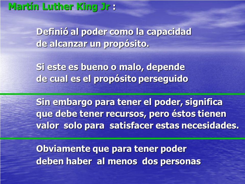 Martín Luther King Jr : Martín Luther King Jr : Definió al poder como la capacidad Definió al poder como la capacidad de alcanzar un propósito. de alc