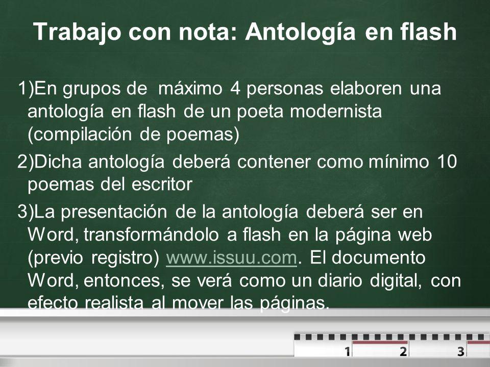 Trabajo con nota: Antología en flash 1)En grupos de máximo 4 personas elaboren una antología en flash de un poeta modernista (compilación de poemas) 2