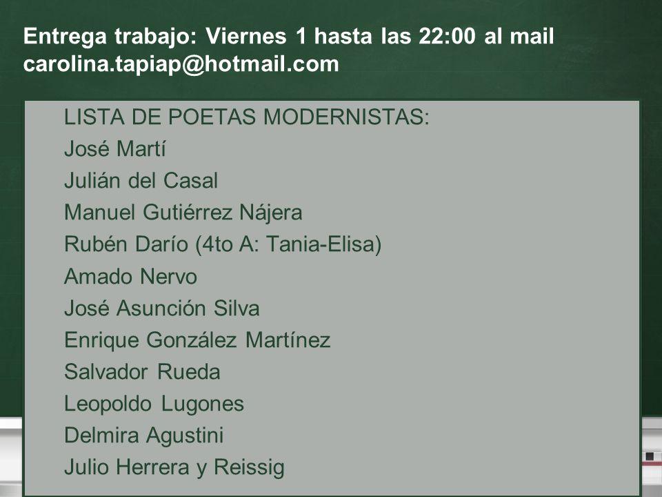 Entrega trabajo: Viernes 1 hasta las 22:00 al mail carolina.tapiap@hotmail.com LISTA DE POETAS MODERNISTAS: José Martí Julián del Casal Manuel Gutiérr