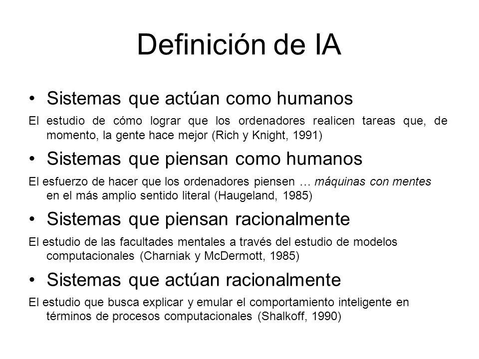 Sistemas que actúan como humanos El modelo es el hombre; el objetivo es construir un sistema que pase por humano.