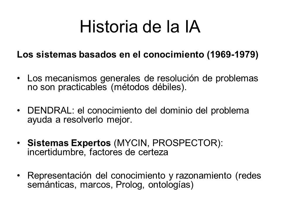 Historia de la IA La IA se industrializa (1980 hasta el presente) El éxito de los sistemas expertos lleva a su uso comercial: R1, XCON (sistema de configuración en Digital Equipment Corporation).
