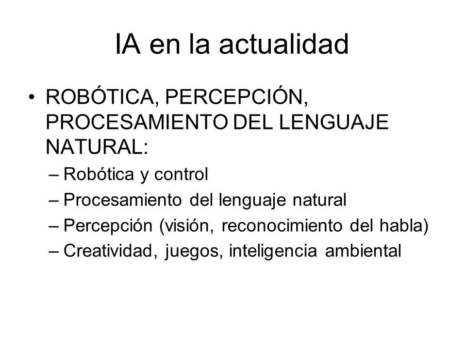 Lecturas recomendadas y otros recursos Libros Russell, S., Norvig, P., Artificial Intelligence: A Modern Approach, Prentice Hall (2003) Russell, S., Norvig, P., Inteligencia Artificial: Un Enfoque Moderno, Pearson (2004) En Internet http://www.lsi.upc.es/~bejar/ia/ia.html http://www.lsi.upc.edu/~luigi/#Docencia