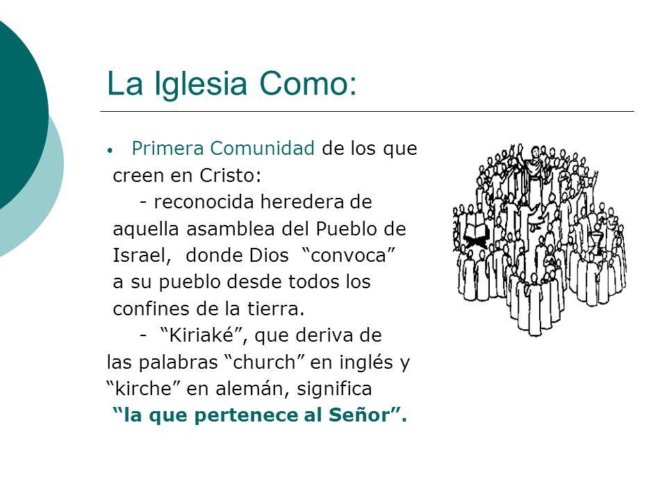 La Iglesia Como: Primera Comunidad de los que creen en Cristo: - reconocida heredera de aquella asamblea del Pueblo de Israel, donde Dios convoca a su