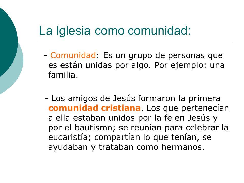 La Iglesia como comunidad: - Comunidad: Es un grupo de personas que es están unidas por algo. Por ejemplo: una familia. - Los amigos de Jesús formaron