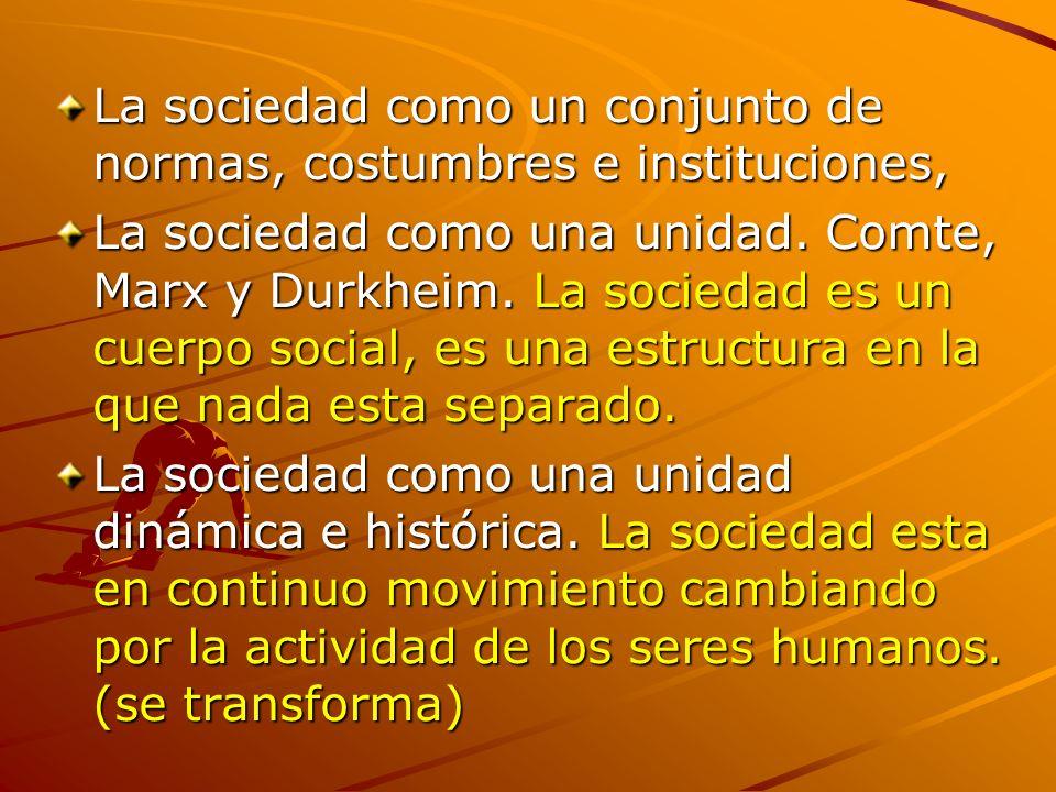 La sociedad como un conjunto de normas, costumbres e instituciones, La sociedad como una unidad. Comte, Marx y Durkheim. La sociedad es un cuerpo soci