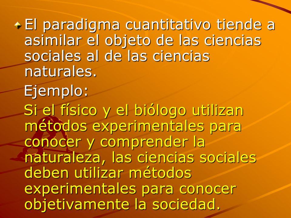 El paradigma cuantitativo tiende a asimilar el objeto de las ciencias sociales al de las ciencias naturales. Ejemplo: Ejemplo: Si el físico y el biólo
