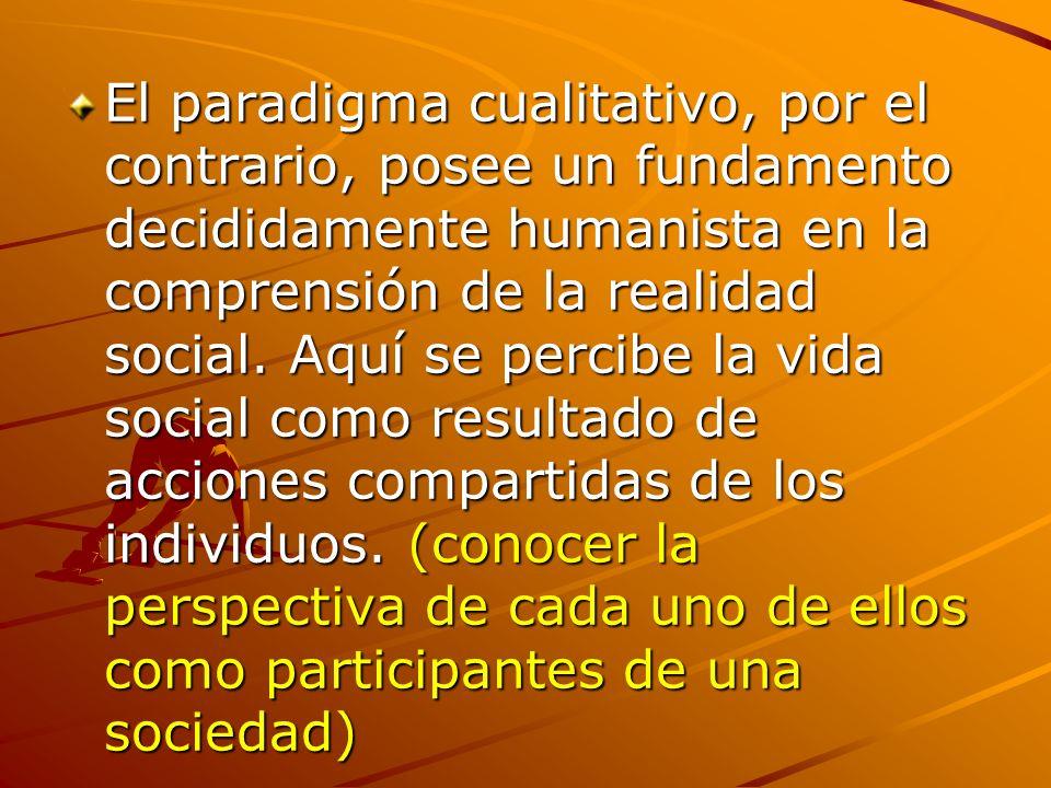 El paradigma cualitativo, por el contrario, posee un fundamento decididamente humanista en la comprensión de la realidad social. Aquí se percibe la vi