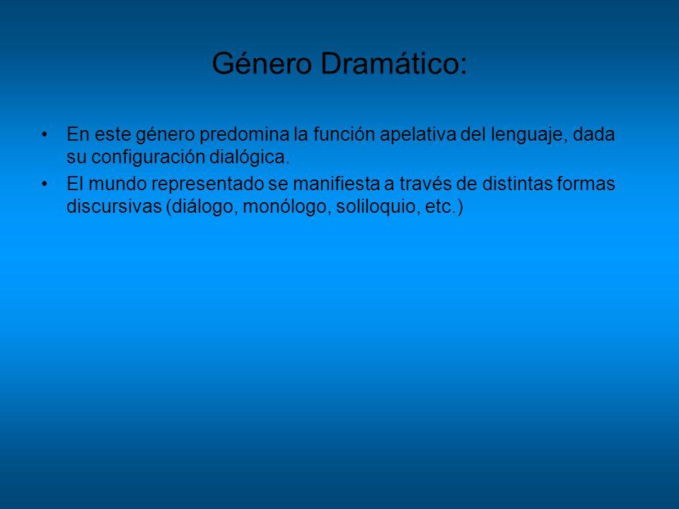 Género Dramático: En este género predomina la función apelativa del lenguaje, dada su configuración dialógica. El mundo representado se manifiesta a t