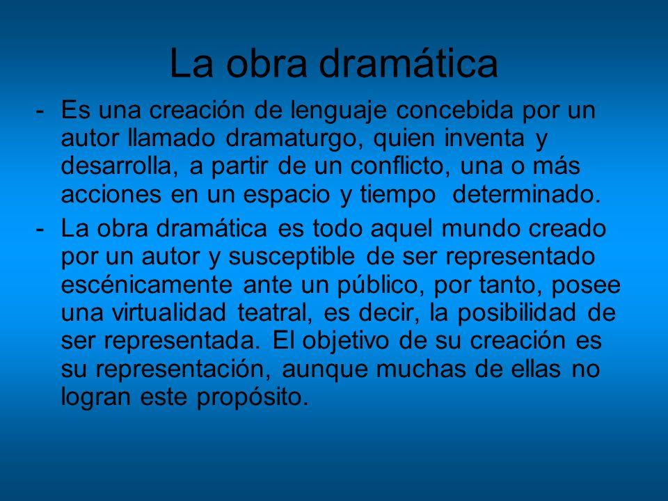 La obra dramática -Es una creación de lenguaje concebida por un autor llamado dramaturgo, quien inventa y desarrolla, a partir de un conflicto, una o
