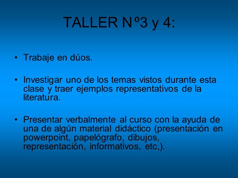 TALLER Nº3 y 4: Trabaje en dúos. Investigar uno de los temas vistos durante esta clase y traer ejemplos representativos de la literatura. Presentar ve