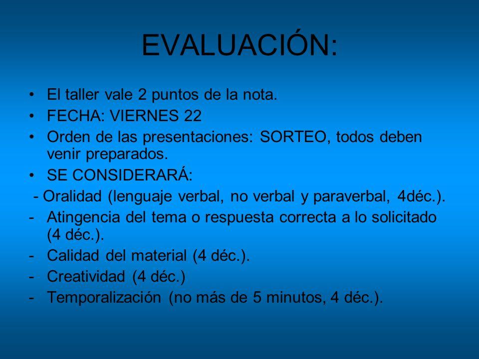 EVALUACIÓN: El taller vale 2 puntos de la nota. FECHA: VIERNES 22 Orden de las presentaciones: SORTEO, todos deben venir preparados. SE CONSIDERARÁ: -