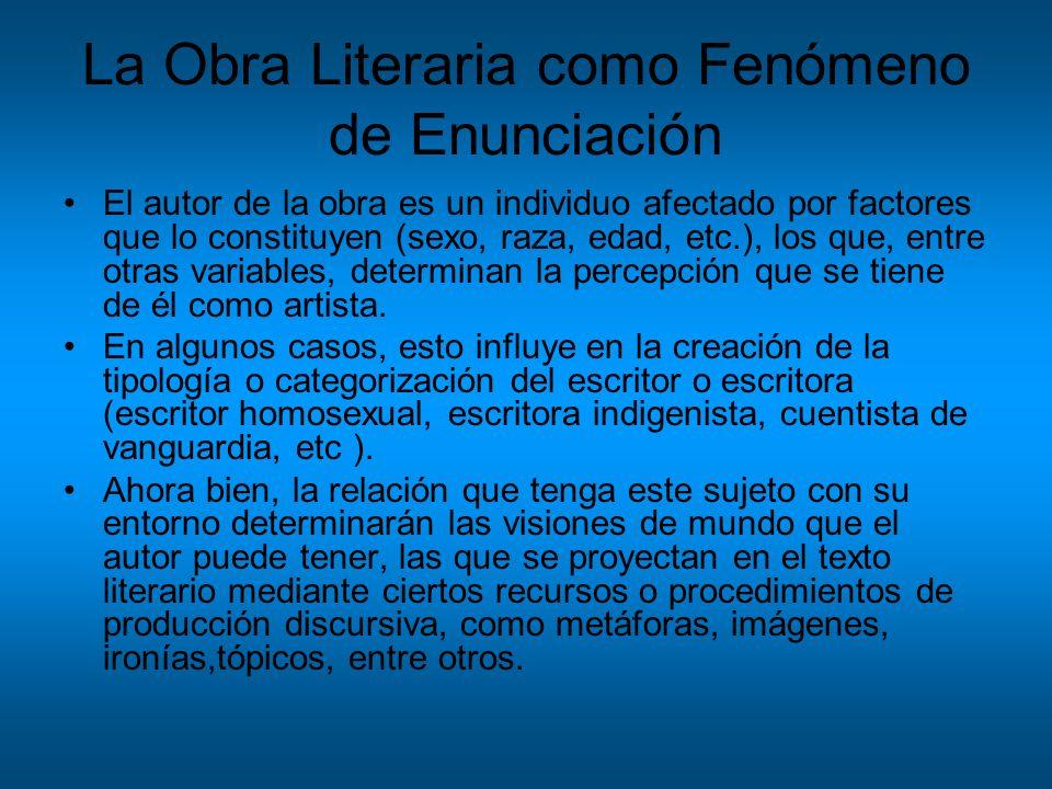 La Obra Literaria como Fenómeno de Enunciación El autor de la obra es un individuo afectado por factores que lo constituyen (sexo, raza, edad, etc.),