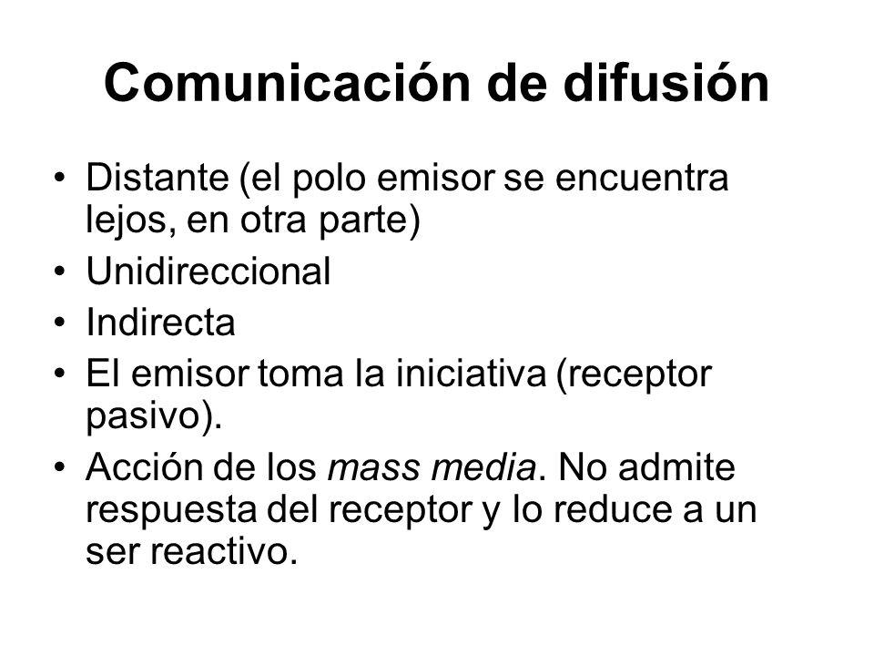 Comunicación de difusión Distante (el polo emisor se encuentra lejos, en otra parte) Unidireccional Indirecta El emisor toma la iniciativa (receptor p
