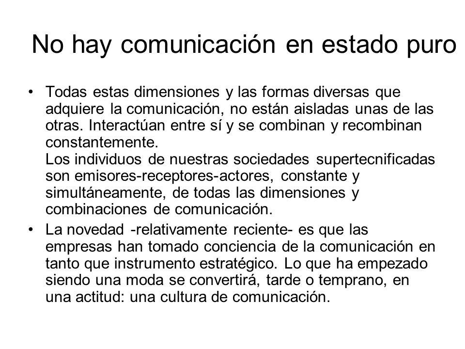No hay comunicación en estado puro Todas estas dimensiones y las formas diversas que adquiere la comunicación, no están aisladas unas de las otras. In
