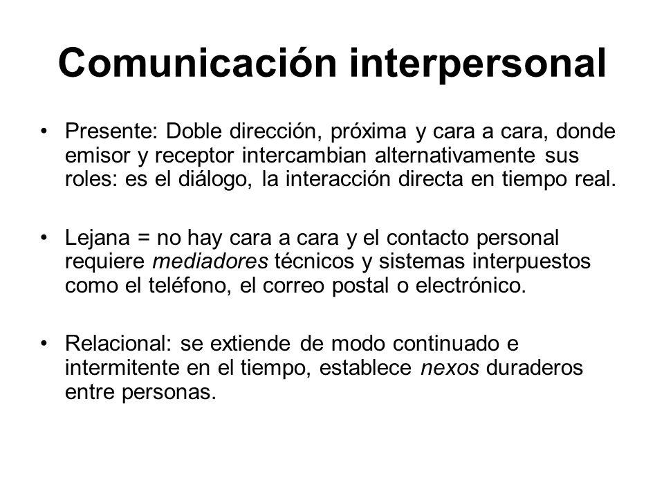 Comunicación interpersonal Presente: Doble dirección, próxima y cara a cara, donde emisor y receptor intercambian alternativamente sus roles: es el di