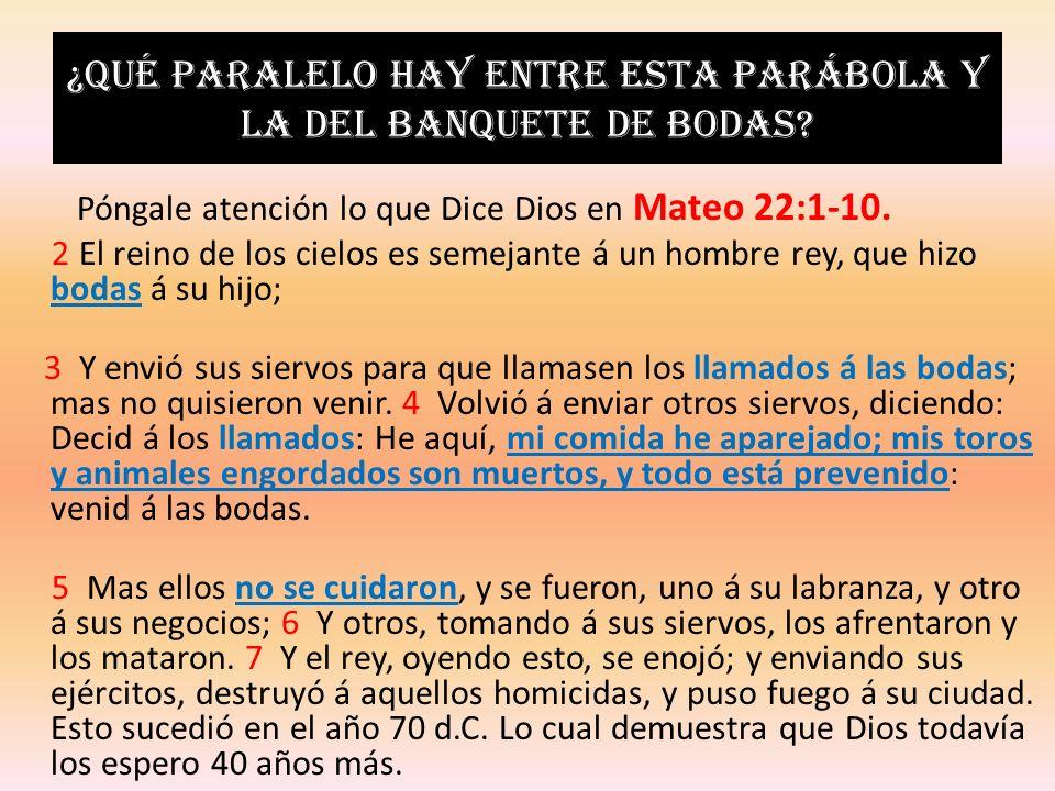 ¿Qué paralelo hay entre esta parábola y la del banquete de bodas? Póngale atención lo que Dice Dios en Mateo 22:1-10. 2 El reino de los cielos es seme