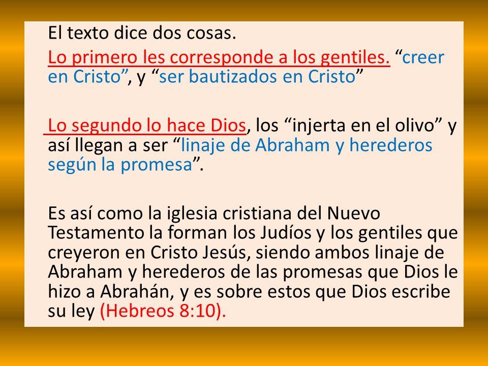 El texto dice dos cosas. Lo primero les corresponde a los gentiles. creer en Cristo, y ser bautizados en Cristo Lo segundo lo hace Dios, los injerta e