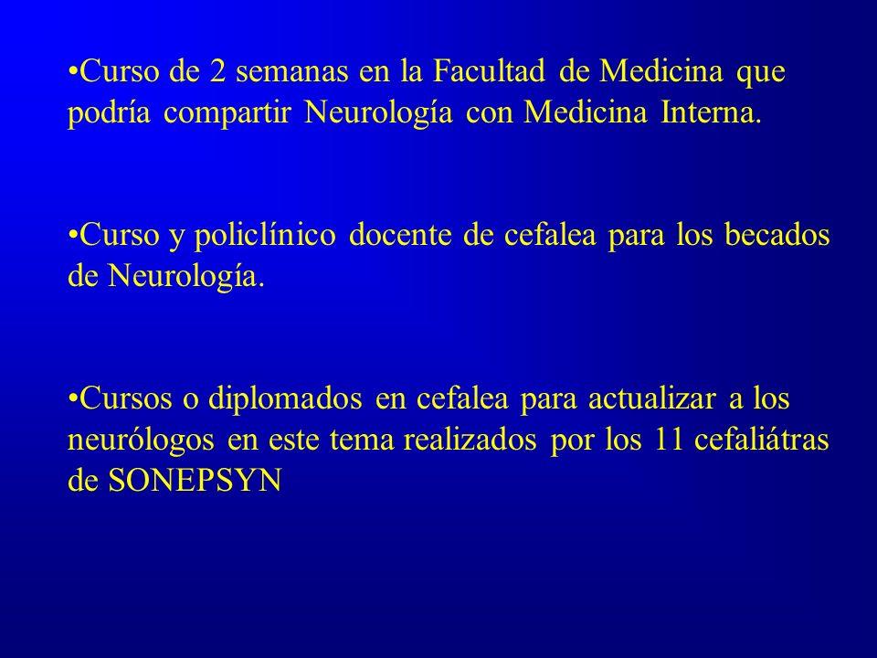 Curso de 2 semanas en la Facultad de Medicina que podría compartir Neurología con Medicina Interna. Curso y policlínico docente de cefalea para los be