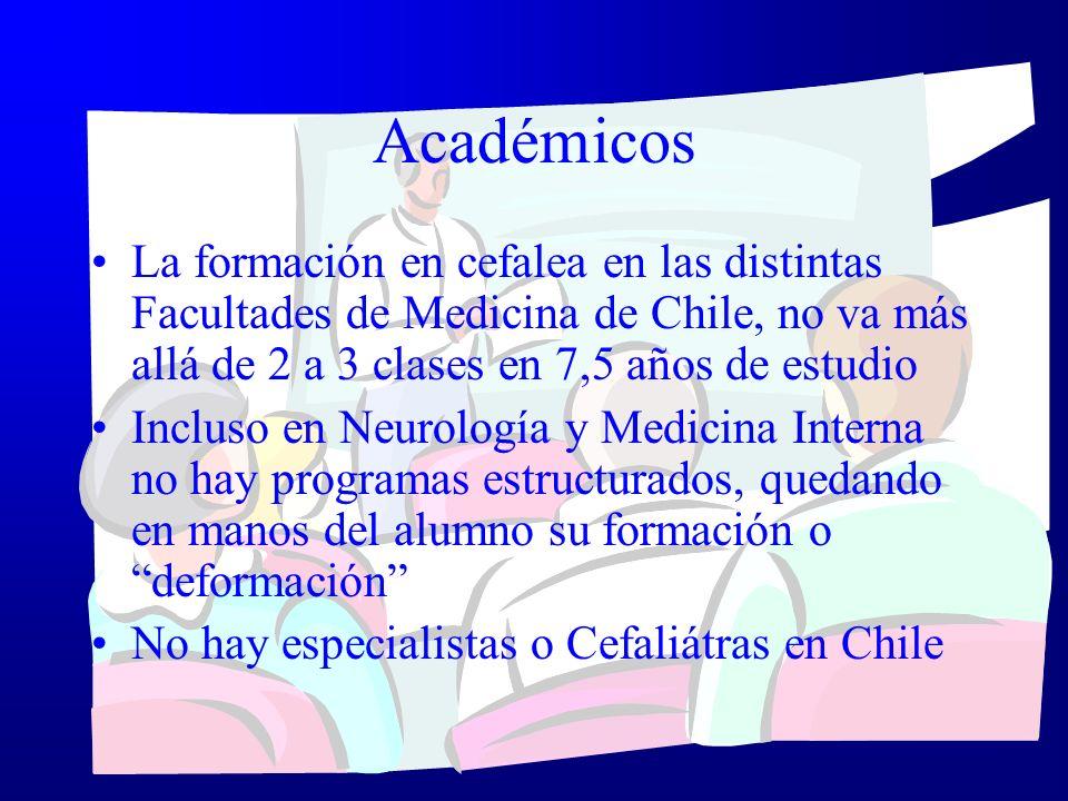 Académicos La formación en cefalea en las distintas Facultades de Medicina de Chile, no va más allá de 2 a 3 clases en 7,5 años de estudio Incluso en