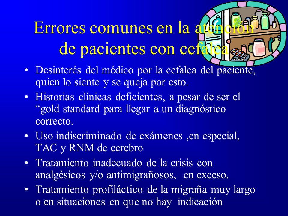 Errores comunes en la atención de pacientes con cefalea Desinterés del médico por la cefalea del paciente, quien lo siente y se queja por esto. Histor