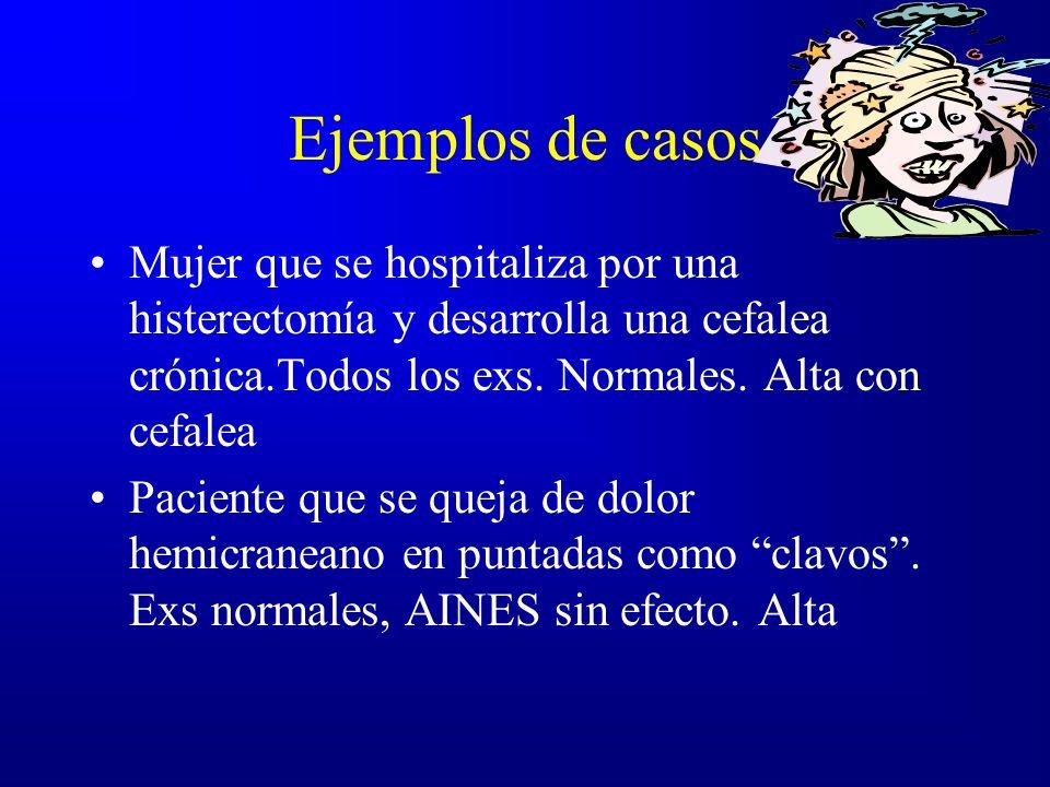 Ejemplos de casos Mujer que se hospitaliza por una histerectomía y desarrolla una cefalea crónica.Todos los exs. Normales. Alta con cefalea Paciente q