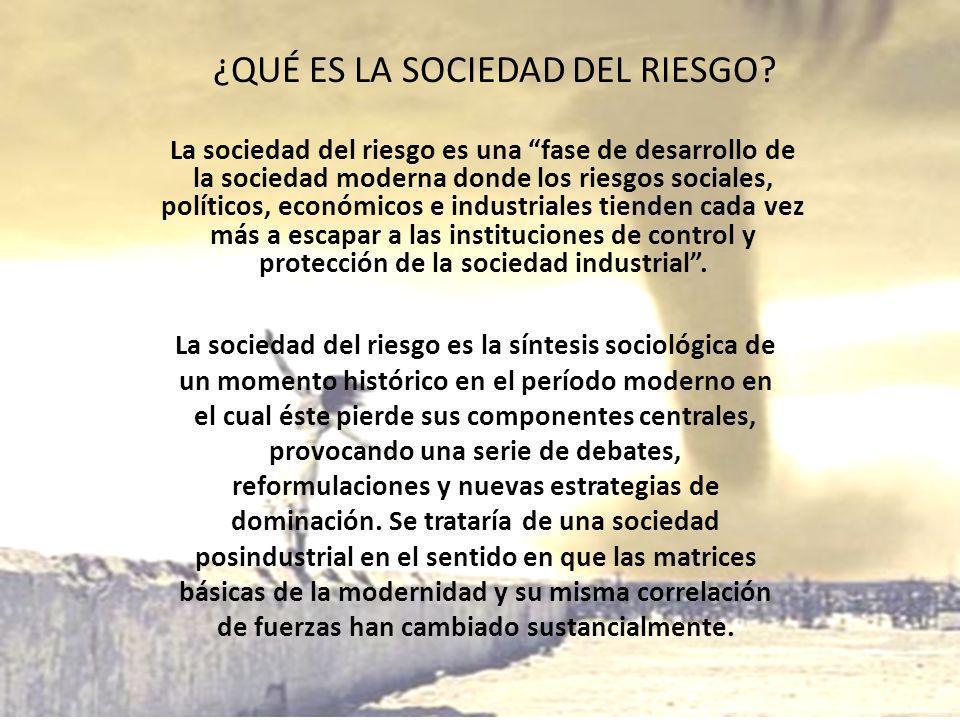 ¿QUÉ ES LA SOCIEDAD DEL RIESGO? La sociedad del riesgo es una fase de desarrollo de la sociedad moderna donde los riesgos sociales, políticos, económi