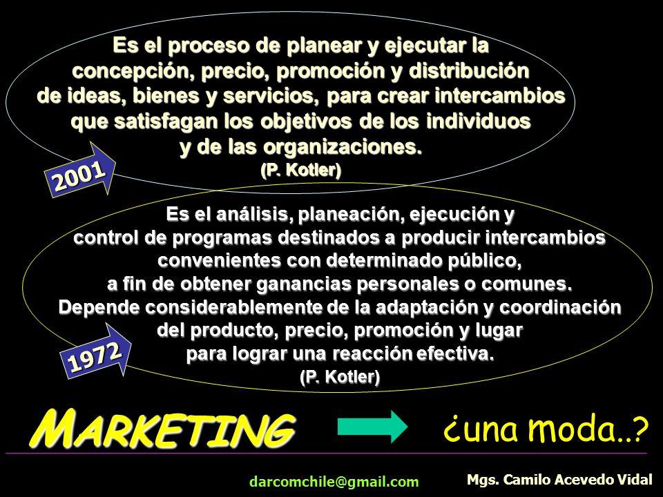 darcomchile@gmail.com M ARKETING Es el proceso de planear y ejecutar la concepción, precio, promoción y distribución de ideas, bienes y servicios, par